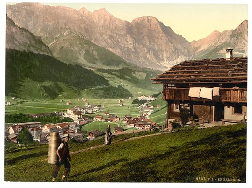 Engelberg Valley and Peasant's House, Bernese Oberland, Switzerland. Date between ca. 1890 and ca. 1900.