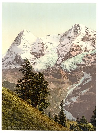 Eiger and Monch, Bernese Oberland, Switzerland. Date between ca. 1890 and ca. 1900.