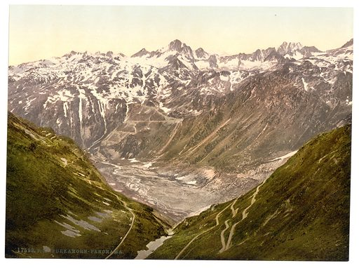 Furka Pass, general view from the Furkahorn, Bernese Oberland, Switzerland. Date between ca. 1890 and ca. 1900.