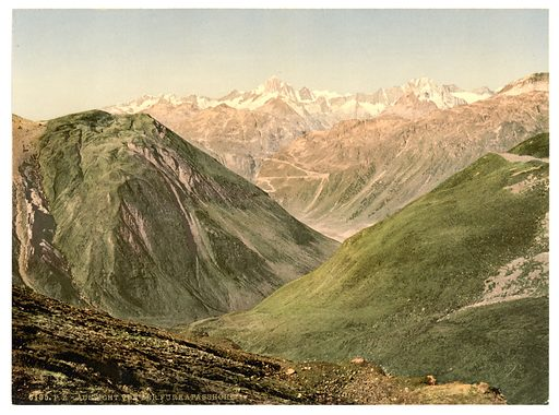 Furka Pass, view from the summit, Bernese Oberland, Switzerland. Date between ca. 1890 and ca. 1900.