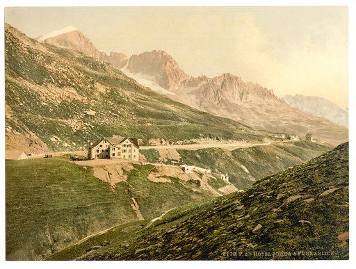 Furka Pass, the hotel, Bernese Oberland, Switzerland. Date between ca. 1890 and ca. 1900.