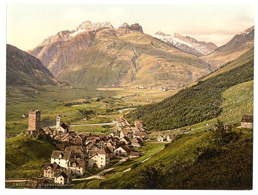 Furka Pass, Hospenthal, general view, Bernese Oberland, Switzerland. Date between ca. 1890 and ca. 1900.