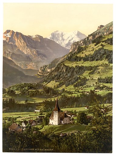 Frutigen and Balmhorn, Bernese Oberland, Switzerland. Date between ca. 1890 and ca. 1900.