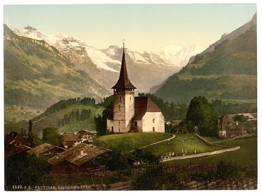 Frutigen, church and Alps, Bernese Oberland, Switzerland. Date between ca. 1890 and ca. 1900.