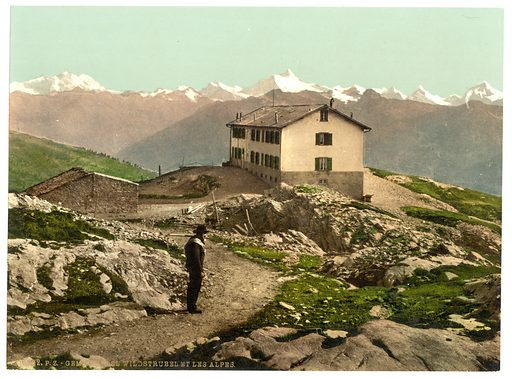 Passhohe, Hotel Wildstrubel and the Alps, Bernese Oberland, Switzerland. Date between ca. 1890 and ca. 1900.