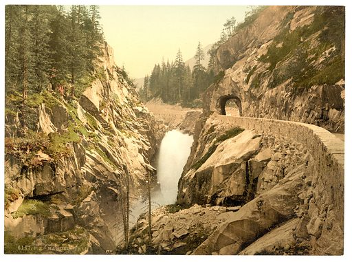 Grimselstrasse, Handegg Falls, I, Bernese Oberland, Switzerland. Date between ca. 1890 and ca. 1900.