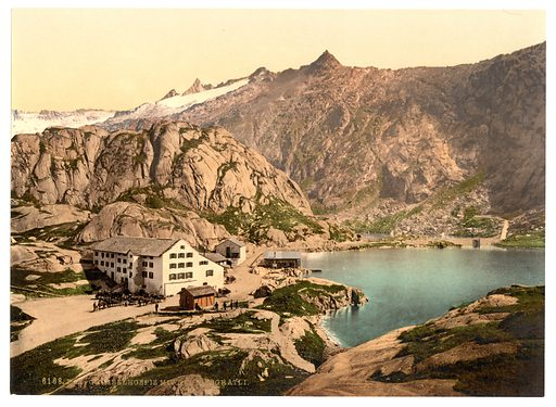 Grimselstrasse, the hospice, Bernese Oberland, Switzerland. Date between ca. 1890 and ca. 1900.