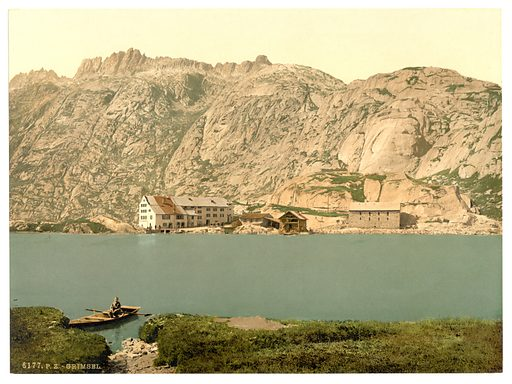 Grimselstrasse, Grimsel, Bernese Oberland, Switzerland. Date between ca. 1890 and ca. 1900.