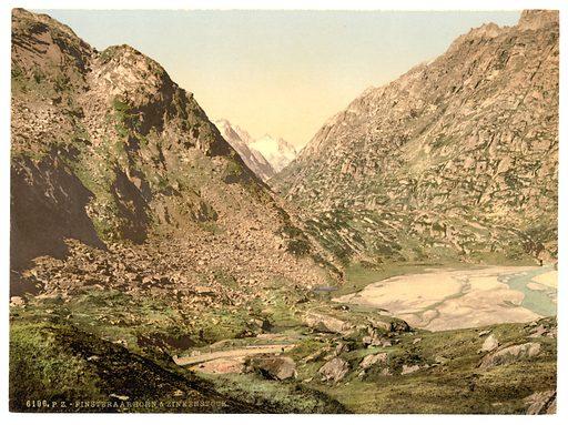 Grimselstrasse, view on Finsteraarhorn and Zinkenstock, Bernese Oberland, Switzerland. Date between ca. 1890 and ca. 1900.