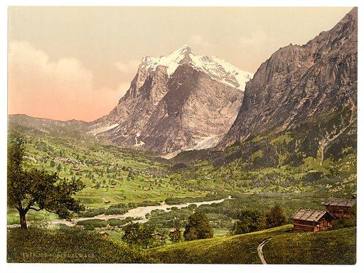 Grindelwald, general view, Wetterhorn, Bernese Oberland, Switzerland. Date between ca. 1890 and ca. 1900.