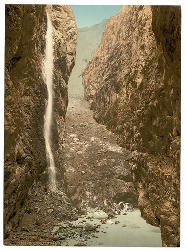 Grindelwald, grotto, II, with waterfall, Bernese Oberland, Switzerland. Date between ca. 1890 and ca. 1900.