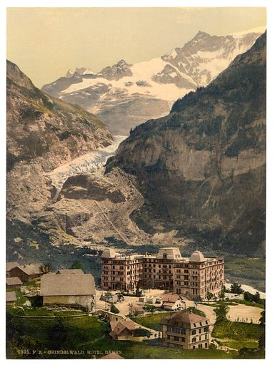 Grindelwald, Bear Hotel and glacier, Bernese Oberland, Switzerland. Date between ca. 1890 and ca. 1900.
