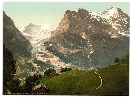 Grindelwald, church and Eiger, Bernese Oberland, Switzerland. Date between ca. 1890 and ca. 1900.