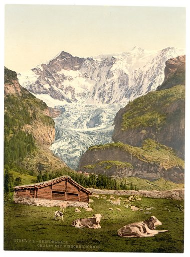 Grindelwald, chalet and Vischerhorn, Bernese Oberland, Switzerland . Date between ca. 1890 and ca. 1900.