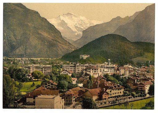 Interlaken, with Jungfrau, Bernese Oberland, Switzerland. Date between ca. 1890 and ca. 1900.