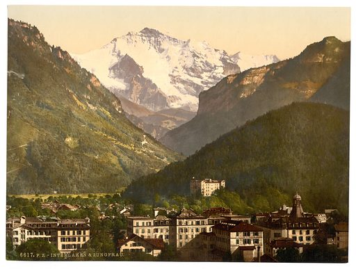 Interlaken, and the Jungfrau, Bernese Oberland, Switzerland. Date between ca. 1890 and ca. 1900.