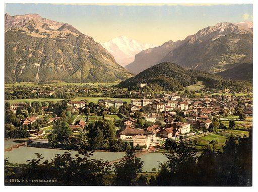Interlaken, and the Jungfrau, general view, Bernese Oberland, Switzerland. Date between ca. 1890 and ca. 1900.