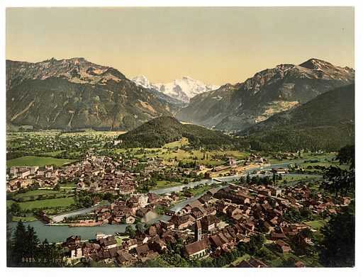 Interlaken, from the Heimwehfluh, towards the Harder, Bernese Oberland, Switzerland. Date between ca. 1890 and ca. 1900.