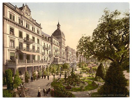 Interlaken, Grand Hotel Victoria, Bernese Oberland, Switzerland. Date between ca. 1890 and ca. 1900.