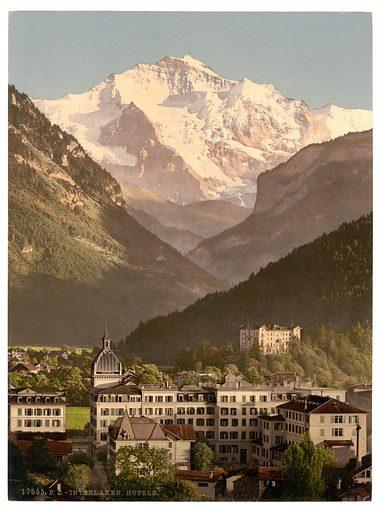 Interlaken, hotels, Bernese Oberland, Switzerland. Date between ca. 1890 and ca. 1900.