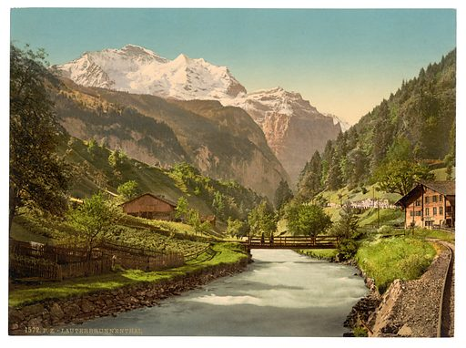 Jungfrau and Lauterbrunnen, Bernese Oberland, Switzerland. Date between ca. 1890 and ca. 1900.