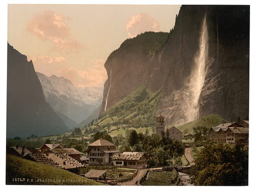 Jungfrau and Staubbach, Bernese Oberland, Switzerland. Date between ca. 1890 and ca. 1900.