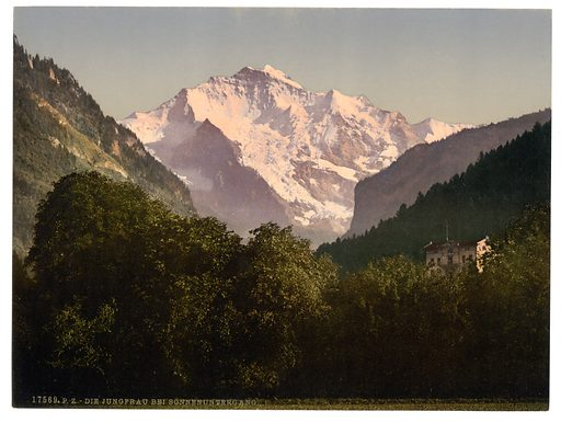 Jungfrau, at sunset, Bernese Oberland, Switzerland. Date between ca. 1890 and ca. 1900.