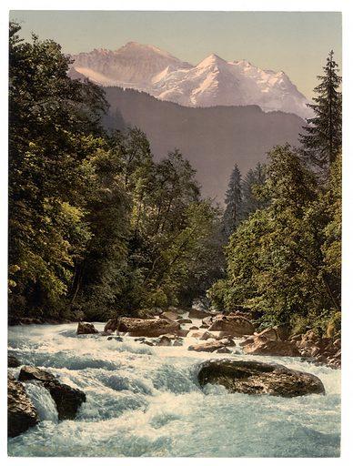 Jungfrau and Lutschine, Bernese Oberland, Switzerland. Date between ca. 1890 and ca. 1900.