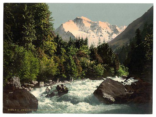 Jungfrau and Zweilutschine, Bernese Oberland, Switzerland. Date between ca. 1890 and ca. 1900.