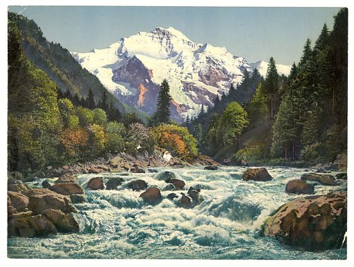 Gorge of the Lütschine River, Bernese Oberland, Switzerland. Date between ca. 1890 and ca. 1900.