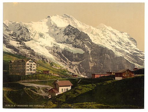Jungfrau and Scheidegg, Bernese Oberland, Switzerland. Date between ca. 1890 and ca. 1900.