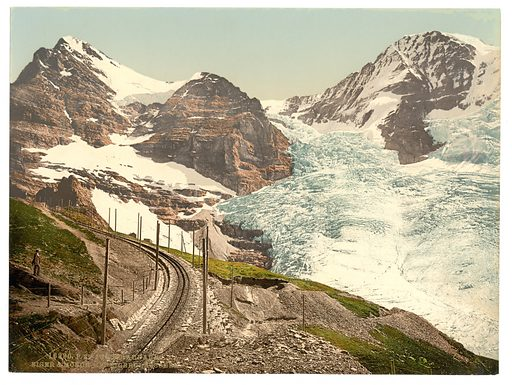 Jungfrau, railroad, Eiger and Monch, with Eiger Glacier, Bernese Oberland, Switzerland. Date between ca. 1890 and ca. 1900.