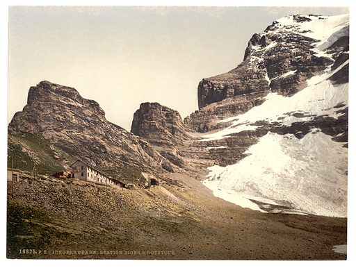 Jungfrau, railroad station, Eiger and Rothstock, Bernese Oberland, Switzerland. Date between ca. 1890 and ca. 1900.