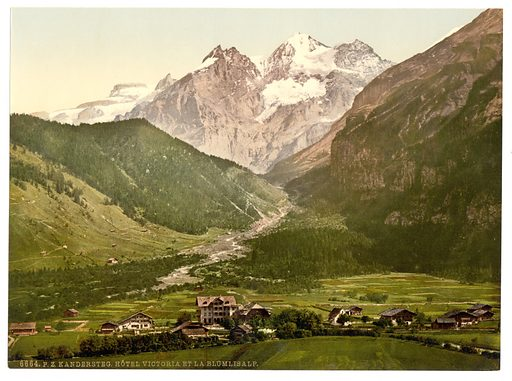 Kandersteg, Hotel Victoria and Blumlisalp, Bernese Oberland, Switzerland. Date between ca. 1890 and ca. 1900.