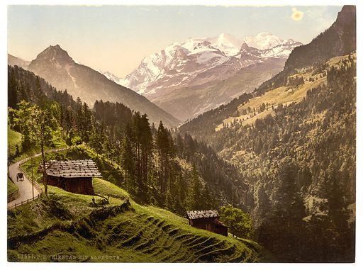 Kienthal and Alpine hut, Bernese Oberland, Switzerland. Date between ca. 1890 and ca. 1900.