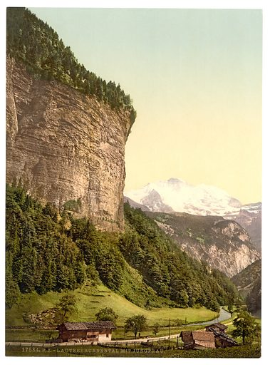 Lauterbrunnen Valley and Jungfrau, Bernese Oberland, SWitzerland. Date between ca. 1890 and ca. 1900.