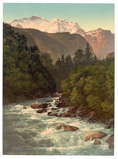 Lauterbrunnen Valley, Jungfrau and White Lutschine, Bernese Oberland, Switzerland. Date between ca. 1890 and ca. 1900.