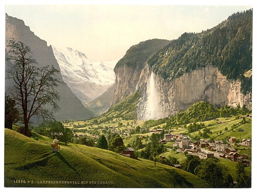 Lauterbrunnen Valley with Staubbach, Bernese Oberland, Switzerland. Date between ca. 1890 and ca. 1900.