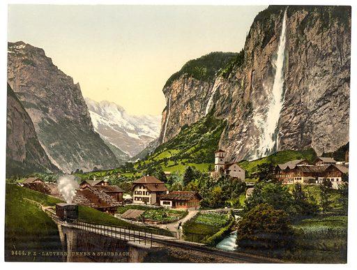 Lauterbrunnen Valley, Staubbach and Jungfrau, Bernese Oberland, Switzerland. Date between ca. 1890 and ca. 1900.