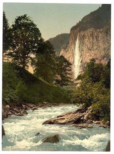 Lauterbrunnen Valley, Staubbach and White Lutschine, Bernese Oberland, Switzerland. Date between ca. 1890 and ca. 1900.