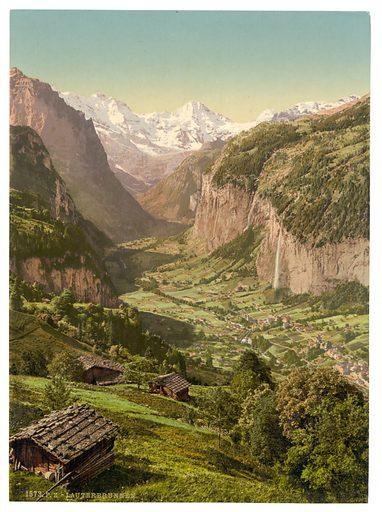Lauterbrunnen Valley and Briethorn, from Wengen, Bernese Oberland, Switzerland. Date between ca. 1890 and ca. 1900.