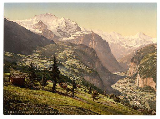 Lauterbrunnen Valley and Wengen, Bernese Oberland, Switzerland. Date between ca. 1890 and ca. 1900.