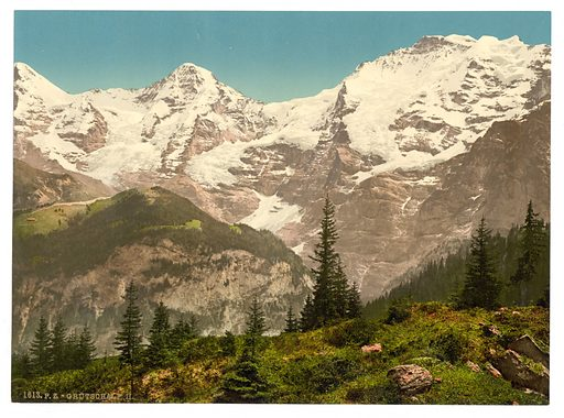 Murren, Grutschalp, II, Eiger, Monch and Jungfrau, Bernese Oberland, Switzerland. Date between ca. 1890 and ca. 1900.