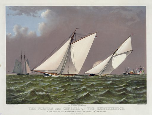 """The Puritan and Genesta on the homestretch: in their second and final international race for """"The America's Cup"""" Sept. 16th 1885. Date c1885."""