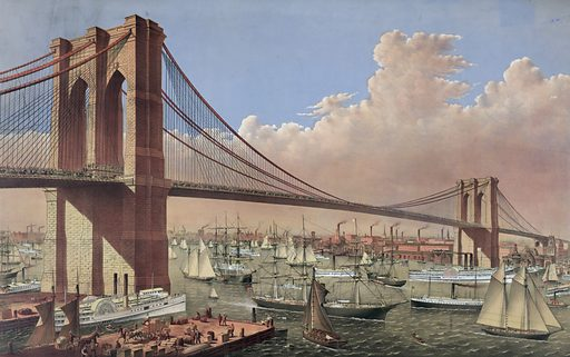 The great East River suspension bridge: connecting the cities of New York & Brooklyn From New York looking south-east. Date c1877.