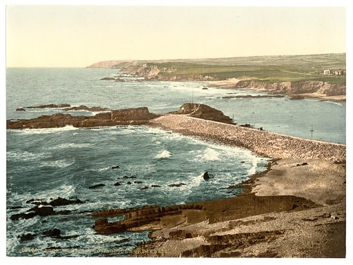 Bude, entrance to harbor and breakwater, Cornwall, England. Date between ca 1890 and ca 1900.