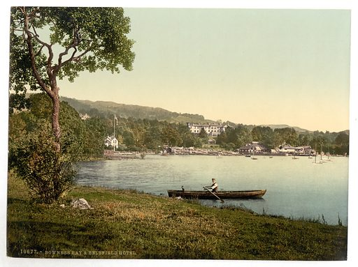 Windermere, Bowness, Bay and Belsfield Hotel, Lake District, England. Date between ca 1890 and ca 1900.