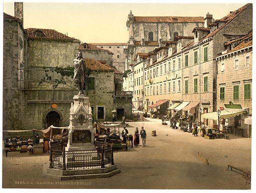 Ragusa, Gundulic Square, Dalmatia, Austro-Hungary. Date between ca 1890 and ca 1900.
