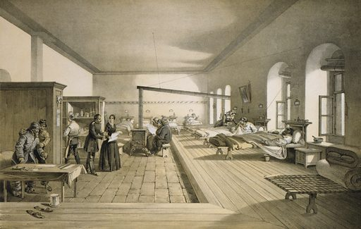 One of the wards of the hospital at Scutari. Interior view of a hospital ward at Scutari during the Crimean War, after the arrival of Florence Nightingale. Date 1856 April 21st.
