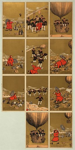 """Collecting cards depicting a story about a Chinese governor of """"Bac-Ninh,"""" who, while relaxing on a hill with his rabbits, is frightened by an approaching balloon carrying sailors. The sailors land, capture the governor and his rabbits, and make rabbit stew. Date between 1880 and 1900."""